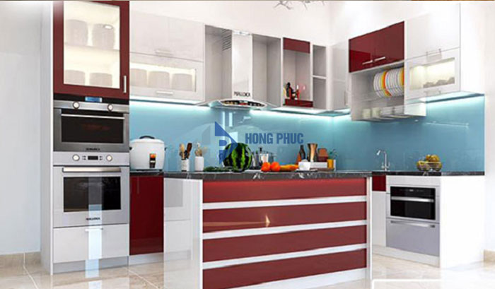 Kính màu ốp bếp Hà Nội